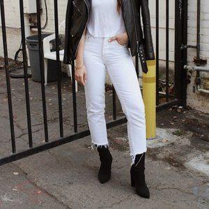 NWT Grlfrnd Helena Raw Hem White Jeans